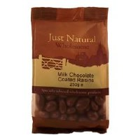 Just Natural Wholesome Milk Chocolate Coated Raisins 250g