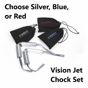 Jet Chock in Drawstring Bag