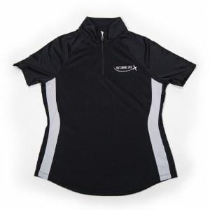 Ladies Zip Collar Polo BK S