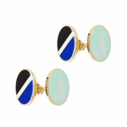 ENAMEL CUFFLINKS PBLUE CHAIN