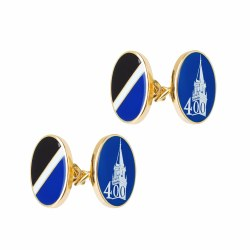 ENAMEL CUFFLINKS NAVY CHAIN