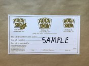 Rock and Snow Gift Certificate
