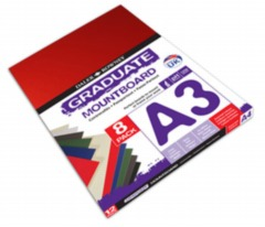 A3 Graduate Mountboard 8 Pack - Assorted Colours