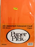 Paper Pick A4 160gsm Card 250 Sheets - Assorted Colours