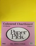 Paper Pick Chartboard 10 Sheets - Assorted Colours