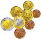 EURO COINS x 120 IN STORAGE BOX