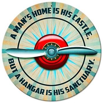 """Man's Hangar"" Round Sign"