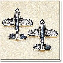 Silver Airplane Earrings