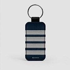 Pilot Stripes Leather Keychain