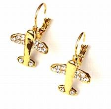 Crystal Earrings-Gold Tone