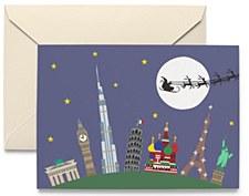 Holiday Card Santa Round World
