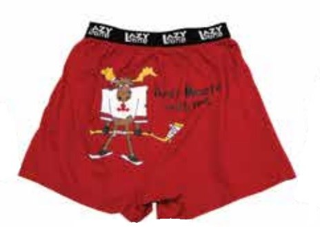 Boxer - Moose Hockey - Red -LG