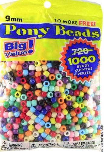 Beads Pony Asst 9mm 1000 Bag*