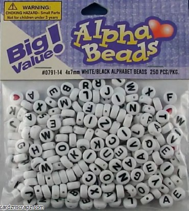 Darice Alphabet Beads 7mm 250pk White Round