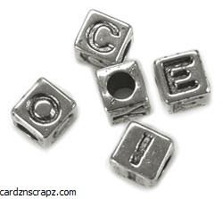 Darice Alphabet Beads 6mm 85pk Silver Plated
