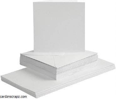 """Card/Env 50pk 6x6"""" White"""