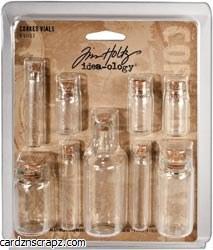 Tim Holtz Idea Ology Corked Glass Vials 9pk 1.25 To 3 High