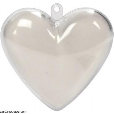 Bauble Clear Heart 65mm 10pk
