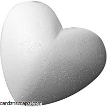 "Polystyrene Heart 150mm 6"" FLAT Backed"