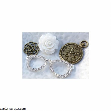 Junque & Gems Metal & Resin Embellishments 4/Pkg Schmancy