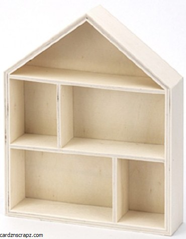 Wooden House 21.5x17x4cm