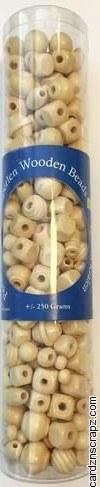 Beads Wood Asst Natural 250gm 230pk