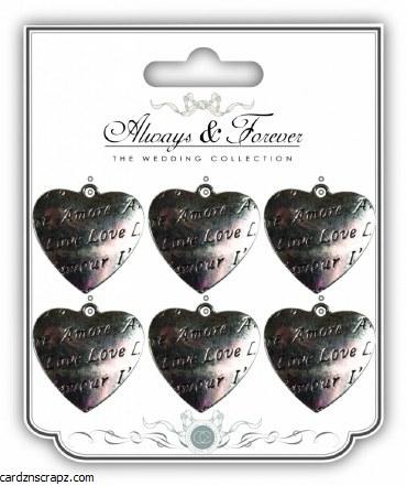 Embellishments Hearts 6pk