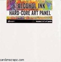 "Alcohol Ink Hard-Core Art Panel 4x4"" 3pk"