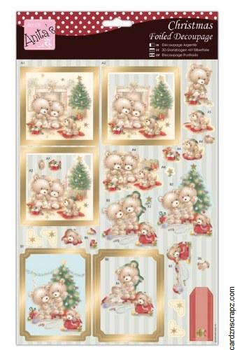 Anita's A4 Foiled Decoupage Beary Merry Christmas