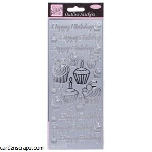 Outline Birthday Cupcake Silv