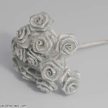 Mini Open Rose 12pk Iridescent Silver