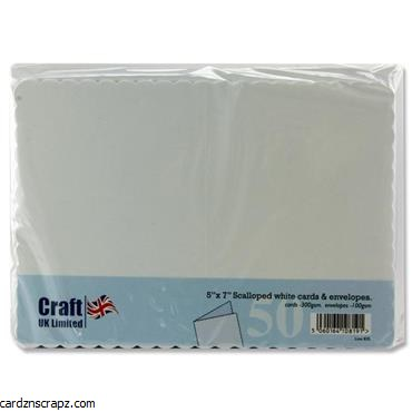 "Card/Env 50pk 7x5"" Scalloped Edge White"
