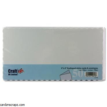 "Card/Env 50pk 6x6"" Scallop Cm"