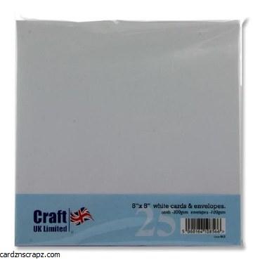 """Card & Envelope Pack 8""""x8"""" 25pk White"""