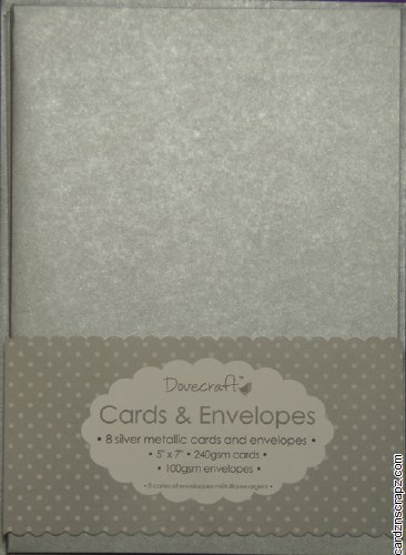 """Dovecraft Card & Envelope Pack 5x7"""" Metallic Silver 8 pack"""