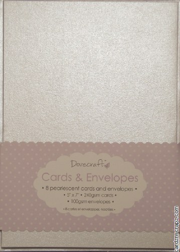 "Dovecraft Card & Envelope Pack 5x7"" Pearlescent Cream 8 pack"