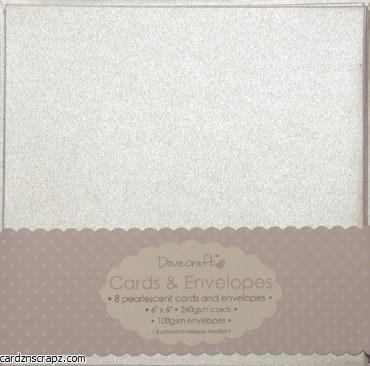 "Dovecraft Card & Envelope Pack 6x6"" Pearlescent Cream 8 pack"