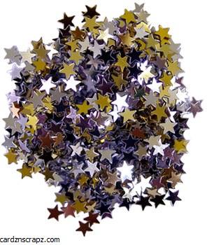 Glitter Stars 6mm 5g Gld/Svr