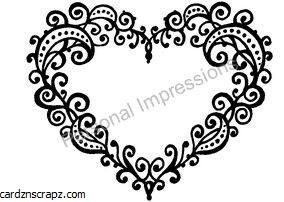 R/Stamp Swirly Heart