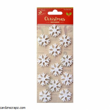 LittleBirdie 3D Mini Glitter Snowflakes Snow White, 12Pc