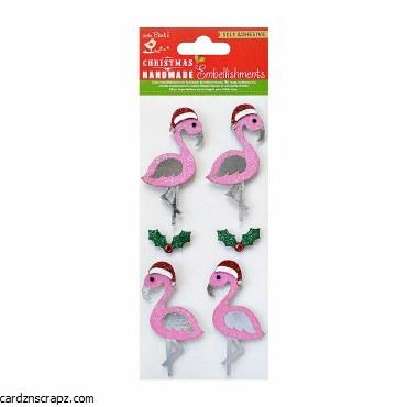 LittleBirdie Christmas Flamingo Self Adhesive Stickers 6pc