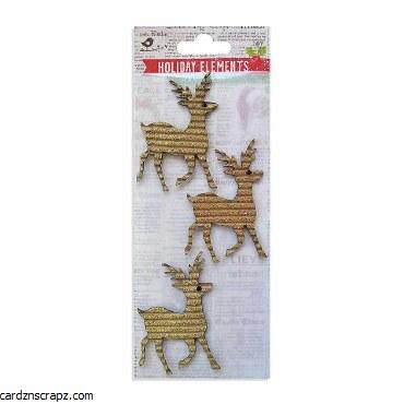 LittleBirdie Christmas Glitter Corrugated Reindeers Gold 3pcs