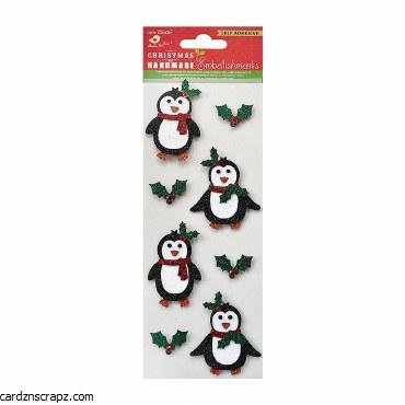 LittleBirdie Christmas Glitter Penguin 8pc Little Birdie