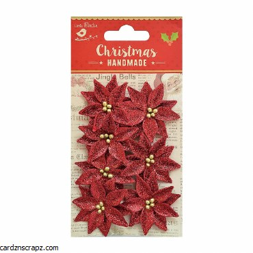 LittleBirdie Christmas Glitter Poinsettia Red, 7Pc