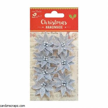 LittleBirdie Christmas Glitter Poinsettia Silver, 7pc