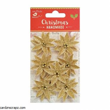 LittleBirdie Christmas Glitter Poinsettia Gold, 7pc