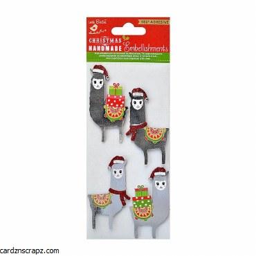 LittleBirdie Christmas Lovable Llamas Self Adhesive Stickers 4pc