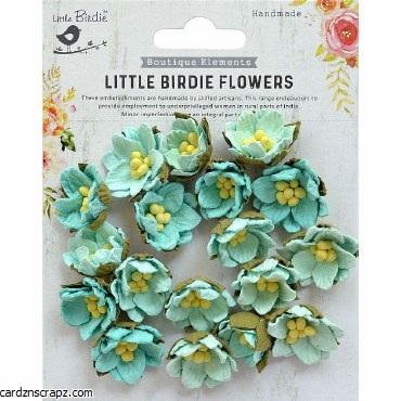 LittleBirdie Handmade Flower Butter Cup Arctic Ice 18Pc