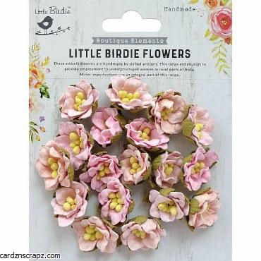 LittleBirdie Handmade Flower Butter Cup Pearl Pink 18Pc