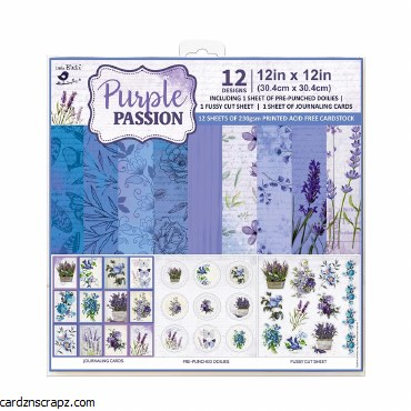 LittleBirdie Paper Pack 12in x 12in Purple Passion 12sheets 230gsm Little Birdie